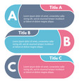 set of three horizontal colorful options banners vector image vector image