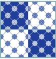 set seamless patterns - blue and white ceramic vector image vector image