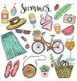 set summer objects like fruits and plants and vector image