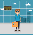 tourist man with suitcase in the airport vector image