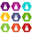 traditional bavarian dress icon set color vector image vector image