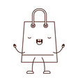 trapezoid animated kawaii shopping bag icon with vector image vector image