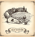 Vineyard Landscape - hand drawn vector image