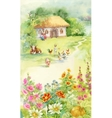 Watercolor countryside landscape with little boy vector image
