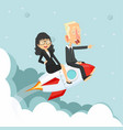 woman and man sitting on on a flying rocket vector image vector image