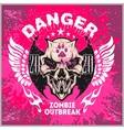 Zombi Apocalypse - emblem with skull on grunge vector image vector image