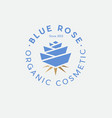 blue rose organic cosmetic logo spa gold leaves vector image