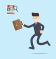 business man running to find a job in newspaper vector image