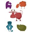 cartoon farm animal collection for design vector image