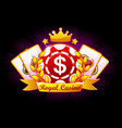 casino royale banner with ribbon and crown icon vector image vector image