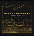 christmas new year gold winter city landscape card vector image vector image