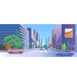 city street downtown cartoon vector image vector image