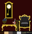 Classic style interior set flat style Digital imag vector image vector image