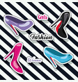 colorful heeled shoes sticker and text of girls vector image