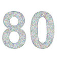 Colorful sketch anniversary design - number 80 vector image vector image