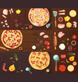 cooking of pizza banners set vector image vector image