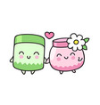 couple of cute cream jars vector image vector image