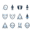 dermatology icons - blue version vector image
