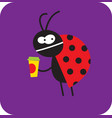 dissatisfied beetle with a cup coffee vector image vector image