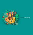 eco tourism papercut backpack and guitar banner vector image