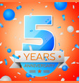 five years anniversary celebration vector image vector image
