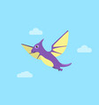 flying pteranodon and clouds vector image vector image