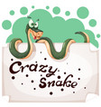 funny cute crazy snake characters paper banner vector image vector image