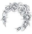 hand drawn rose flowers wreath isolated on white vector image