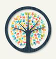 hand print tree of diverse community team help vector image vector image