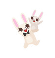 happy family bunnies father rabbit carrying vector image vector image