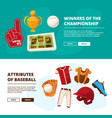 horizontal banners with pictures baseball vector image vector image