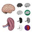 human organs cartoonblackflatmonochromeoutline vector image