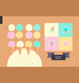 ice cream scoops in waffle cones set vector image