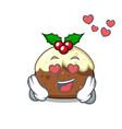 in love fruit cake mascot cartoon vector image vector image