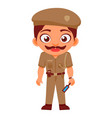 indian man police indian police service security vector image vector image