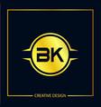 initial letter bk logo template design vector image