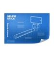 isometric line selfie stick vector image vector image