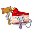 judge strawberry cake mascot cartoon vector image vector image