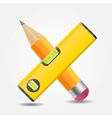 Level and yellow pencil icon vector image vector image