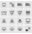 line ftp icon set vector image vector image