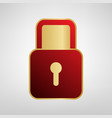 lock sign red icon on gold vector image vector image