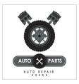 Macine and wheel icon Auto part design vector image vector image