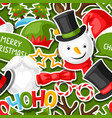merry christmas seamless pattern with photo booth vector image vector image