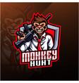 monkey hunt mascot logo design vector image vector image