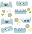 monsters clouds kids seamless pattern it is vector image