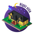 night villa isometric vector image vector image