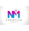 nm n m letter logo with shattered broken blue vector image vector image