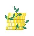 Plant Growth from Money Coin Stack Isolated vector image