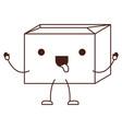 sealed kawaii animated cardboard box in monochrome vector image