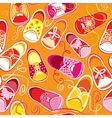 Seamless pattern colored children gumshoes on vector image